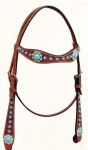 Bar H Equine Turquoise Beaded Collection Browband Headstall