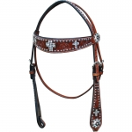 Bar H Equine Crystal Inlay Cross Browband Headstall