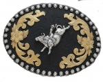 Tri-Color Bucking Bull Buckle by Nocona Belt Co.