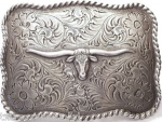 Long Horn Square Pewter Buckle by Nocona