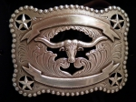 Silver Rectangular Longhorn/Star Buckle by Nocona