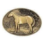 Standing Horse Profile Brass Heritage Attitude Buckle by Montana Silversmiths