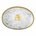 Initial Silver Engraved with Gold Trim Buckle By Montana Silversmith