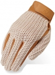 Women's Crochet White and Tan Riding Gloves by Heritage Gloves