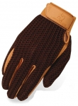 Brown and Tan Crochet Riding Gloves by Heritage Gloves