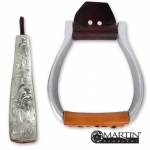 Engraved Flat Bottom Aluminum Stirrup by Martin Saddlery