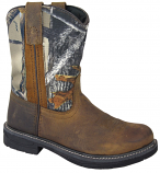 Kid's Brown and Camo Buffalo Wellington Boot by Smoky Mountain Boots