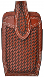 Large Tan Leather Basket Weave Smartphone Holder by 3D