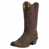 Women's Round Up Square Toe Pwder Brown Boot by Ariat