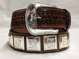 "Men's 1 1/2"" Brown Basket Weave Belt with Silver Conchos by 3-D Belt Company"