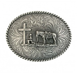 Christian Cowboy Attitude Belt Buckle by Montana Silversmiths