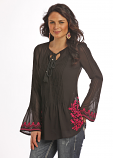 Women's Pleated Tunic with Embroidery by Rock and Roll Cowgirl