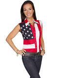 Women's Sleeveless American Flag Shirt by Scully