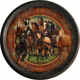 "15"" Rusted Horse Scene Clock by Rivers Edge"