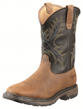 Men's Workhog Wide Square Toe Aged Bark and Black Boot by Ariat