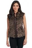 Women's Leopard Faux Fur Zip Front Vest by Cripple Creek