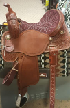 """14"""" Full Maroon Suede Seat BTR by Martin Saddlery"""