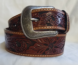 "Men's 1 3/4"" Tan Tooled Western Fashion Belt by 3D"