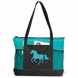 """Lila"" Galloping Horse Tote with Mesh Pocket- Available in Multiple Colors"