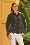 Women's Accent Embroidered Button Down Blouse by Peruvian Perfection- Multiple Colors Available