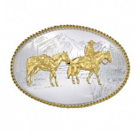 Etched Mountains Western Belt Buckle with Pack Horse and Rider by Montana Silversmiths