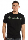 Men's Camo Logo and Text Black Tee by Rock and Roll Cowboy
