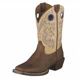 Kid's Crossfire Distressed Brown and Cream Boot by Ariat