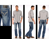 Men's Medium Wash Regular Fit V-Pocket Embroidery Jean by Rock & Roll Cowboy