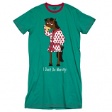 "Women's ""I Don't Do Mornings"" Horse PJ Night Shirt by Lazy One"