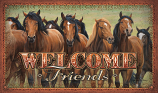 """Welcome Friends"" Horse Scene Door Mat by Rivers Edge"