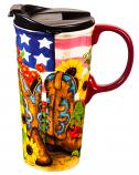 Sunflower Cowgirl Ceramic Travel Mug 17oz by Evergreen