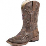 Kid's Crystal Cross Inlay Western Boots by Roper