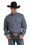Men's Long Sleeve Blue and Gold Paisley Button Down Shirt by Cinch