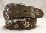 "Women's 1 1/2"" Brown Flower and Scroll Embroidery Belt by Nocona"