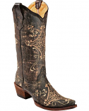 Women's Crackle Tan Embroidered Snip Toe Boot by Circle G