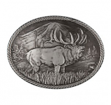 Gunmetal Outdoor Series Wild Elk Carved Buckle by Montana Silversmiths