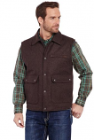Men's Wool Melton Vest with Nubuck Leather Trim by Cripple Creek