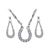 Crystal Clear Lucky Horseshoe Jewelry Set by Montana Silversmiths