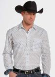Men's Rough Stock Long Sleeve Printed Satin Stripe Shirt by Panhandle Slim