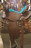 """14"""" BTR Turquoise Suede Seat by Martin Saddlery"""