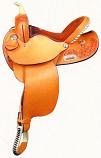 "15"" Floral Tooled Barrel Saddle by Dakota Saddlery"