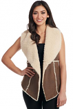 Women's Open Front Faux Shearling Vest with Fur Seams by Cripple Creek