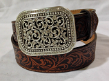 Women's Brown Western Rhinestone Fillegree Belt by Ariat