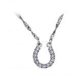Crystal Clear Lucky Horseshoe Necklace by Montana Silversmiths