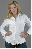 Women's White Embroidered Button Down Blouse with Scallop Hem by Peruvian Perfection