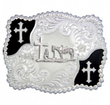Christian Flourish Scallop Shape Belt Buckle with Christian Cowboy by Montana Silversmiths