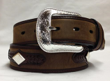 "Men's 1 1/2"" Distressed Brown Belt with Silver Conchos by 3-D Belt Company"