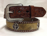 "Men's 1 1/2"" Military Brown with Hair on Inlay and Cross Conchos by 3-D Belt Company"