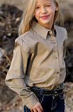 Girl's Solid Khaki Long Sleeve Shirt by Cruel Girl