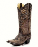 Women's Brown and Chocolate Inlay and Studs Boot by Corral